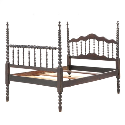 Victorian Spool-Turned Three-Quarter Bed Frame, Late 19th Century