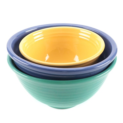 Bauer Cobalt, Jade, and Yellow Ceramic Mixing Bowls