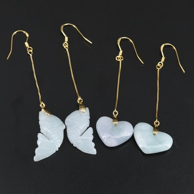 Sterling Silver Jadeite Heart and Fish Earrings