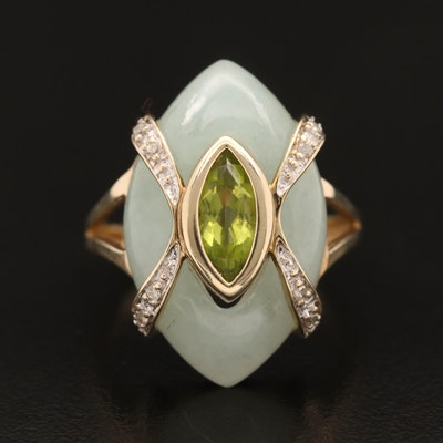 10K Jadeite, Peridot and Diamond Ring