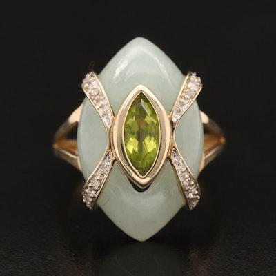 10K Jadeite, Peridot and Diamond Ring