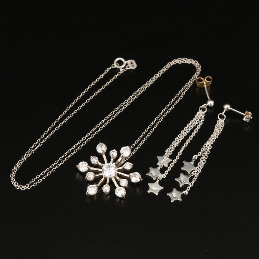 Sterling Snowflake Necklace and Star Dangle Earrings