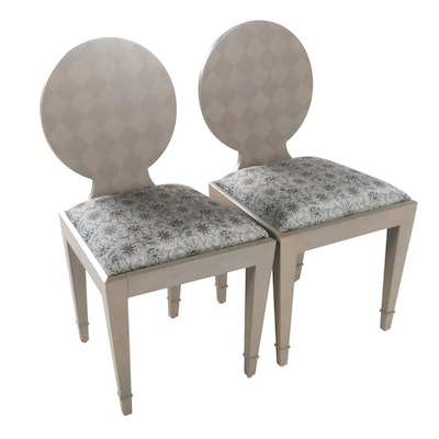 Pair of Donghia Neoclassical Style Paint-Decorated Side Chairs