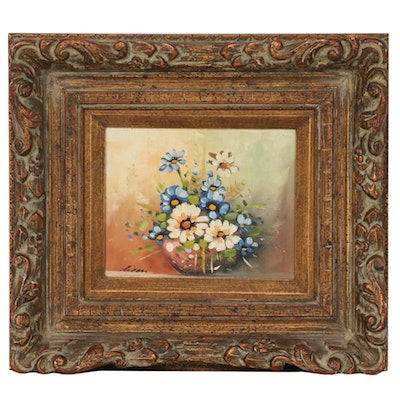 Oil Painting of Still Life with Bowl of Flowers, Late 20th Century