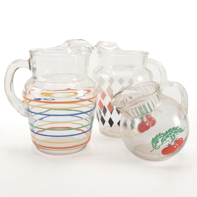 Glass Pitchers with Diamond, Striped and Tomato Designs