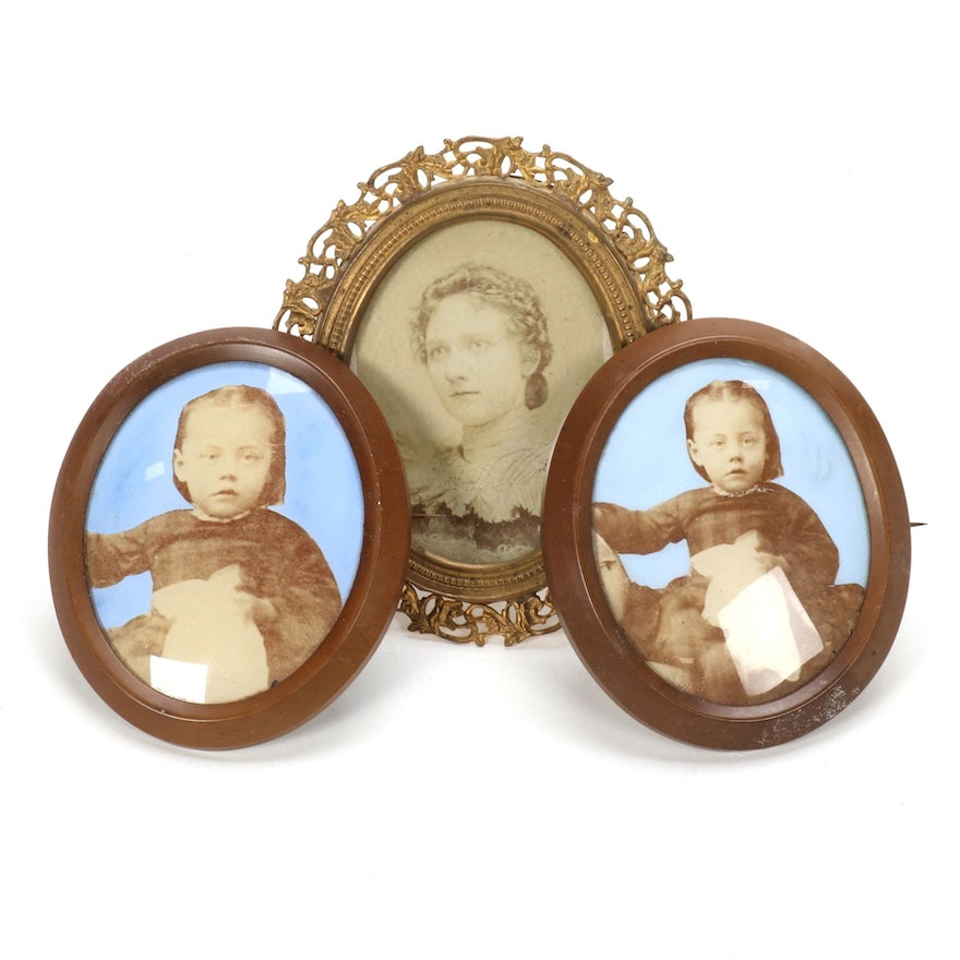 Victorian Mourning Brooches and Miniature Easel Portrait, Late 19th Century