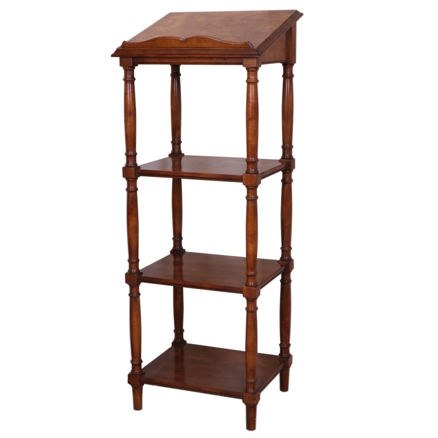 Victorian Style Burl Walnut Four-Tier Library Stand