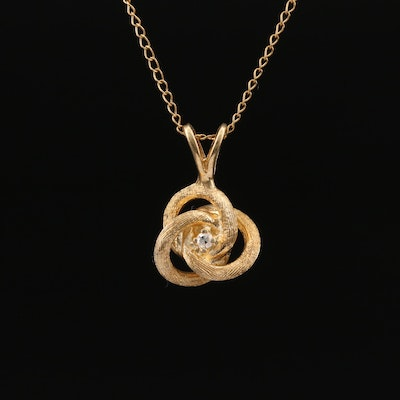 14K Diamond Love Knot Necklace