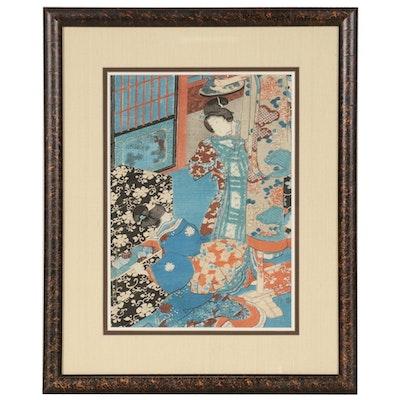 "Woodblock after Utagawa Kunisada ""Mitsuuji and Ladies Looking at Kimono"""