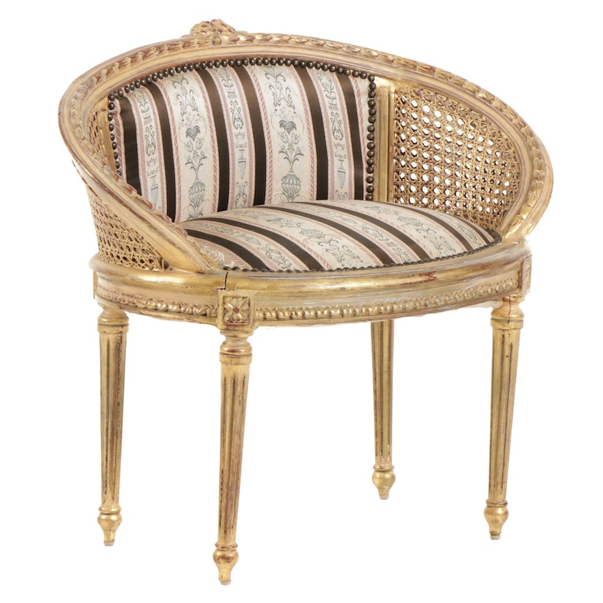 Louis XVI Style Carved Gilt Wood and Upholstered Bench