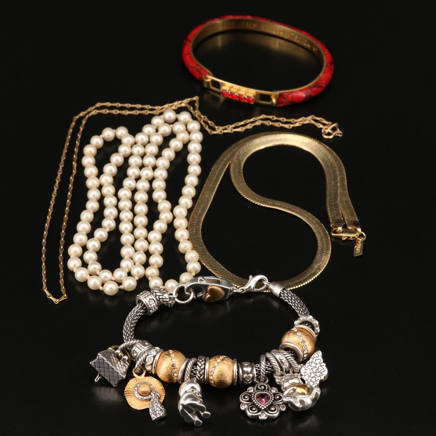 Brighton Charm Bracelet Featured in Leather and Faux Pearl Jewelry Assortment