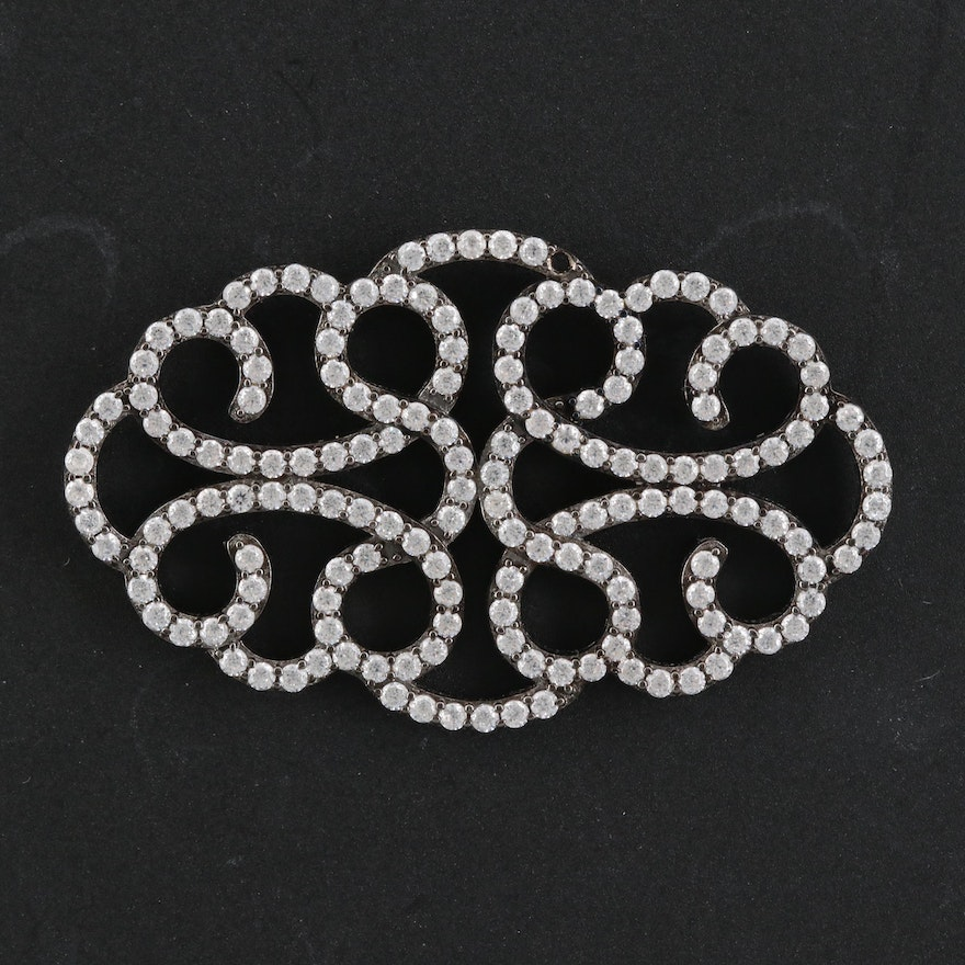 Sterling Silver Cubic Zirconia Scrollwork Pendant