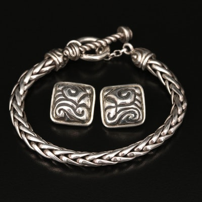 Zina Sterling Espiga Wheat Chain Bracelet and Square Button Earrings