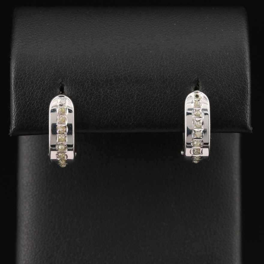 14K Hoop Earrings with Resin Accents