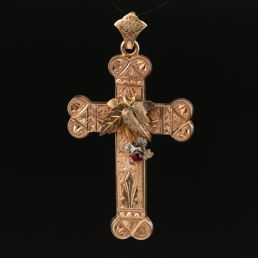 Victorian Etched Cross Pendant with Foliate Design and Garnet