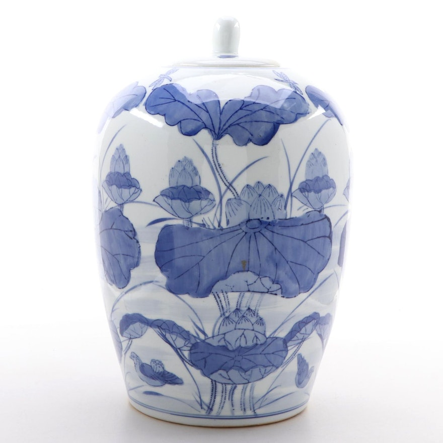 Chinese Ceramic Ginger Jar with Floral Motif