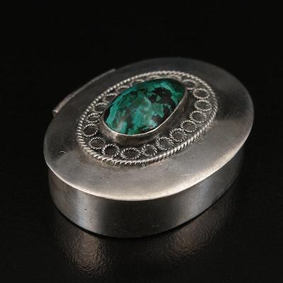 Israeli 900 Silver Eilat Stone Trinket Box