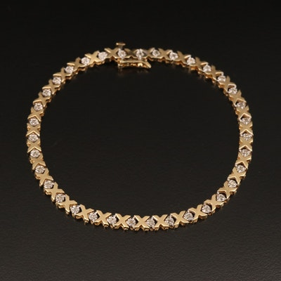 "10K Diamond ""X and O"" Bracelet"