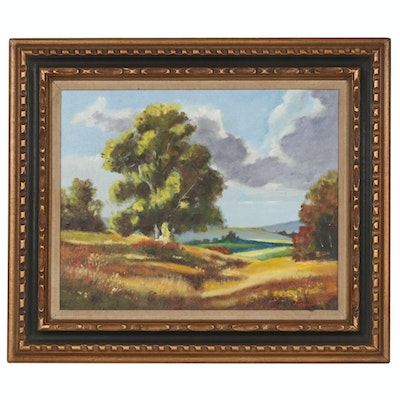 Rural Field Landscape Oil Painting, Mid to Late 20th Century