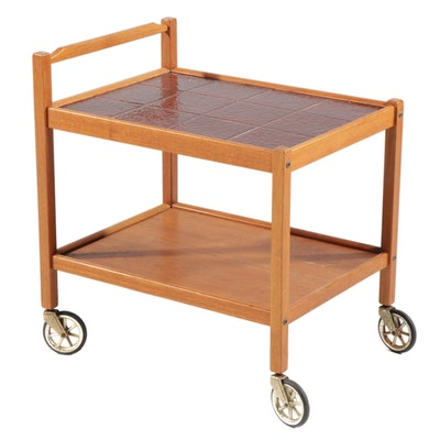 Danish Modern Teak and Ceramic Tile Bar Cart, Mid-20th Century