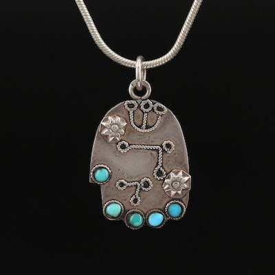 Southwest Style Sterling Turquoise Paw Necklace