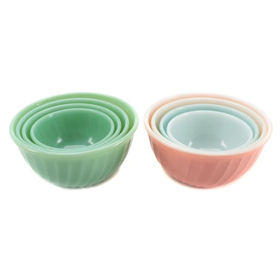 "Anchor Hocking Fire King ""Swirl Jade-Ite Shell"" and Glass Mixing Bowls"