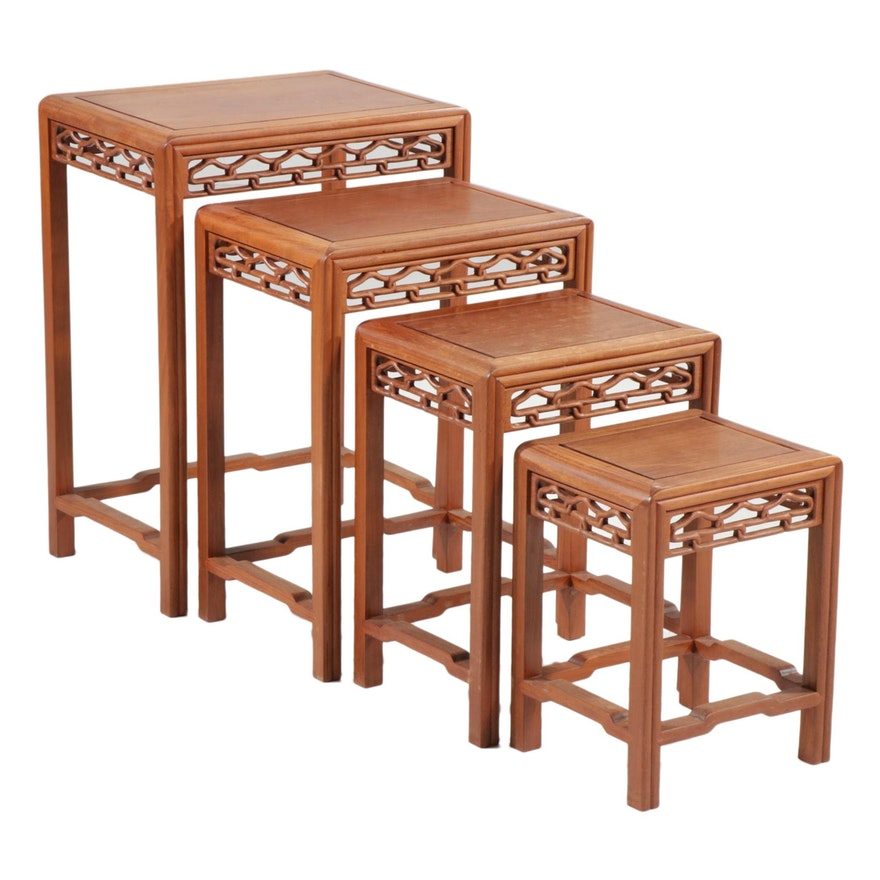 Set of Four Chinese Wood Nesting Tables with Pierced Lattice Friezes