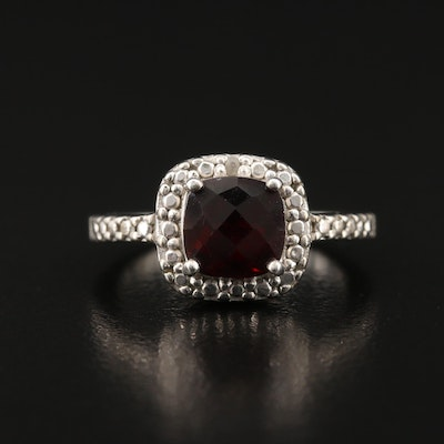 Sterling Silver Garnet Ring with Diamond Accents
