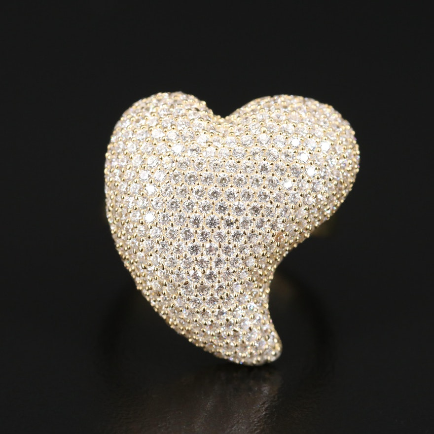 Sterling Silver Pavé Cubic Zirconia Heart Ring