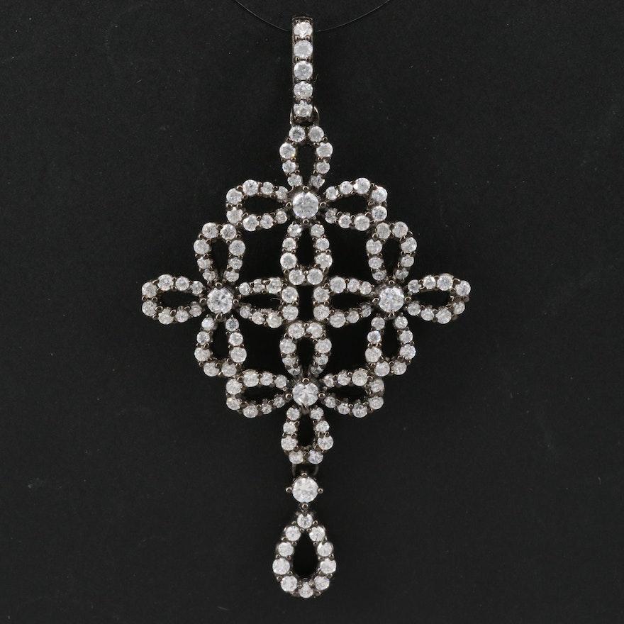 Sterling Silver Cubic Zirconia Dangle Pendant