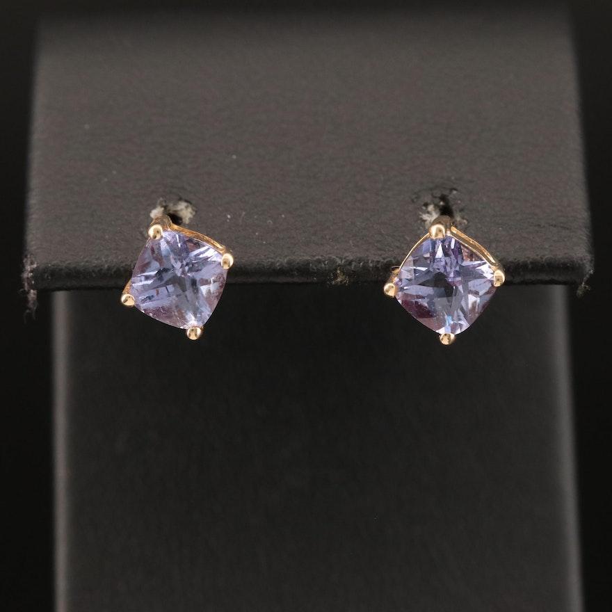 14K Color Change Sapphire Earrings