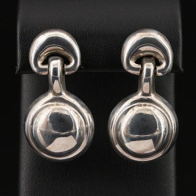 Modernist Style Sterling Silver Drop Earrings