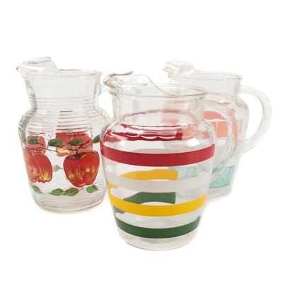 Glass Pitchers with Painted and Transferred Designs