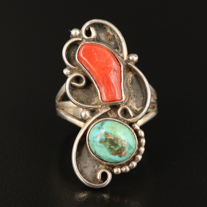 Signed Western Sterling Turquoise and Coral Ring