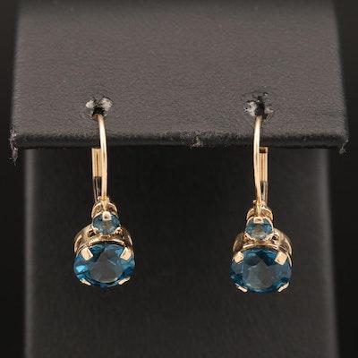 14K London Blue Topaz Earrings