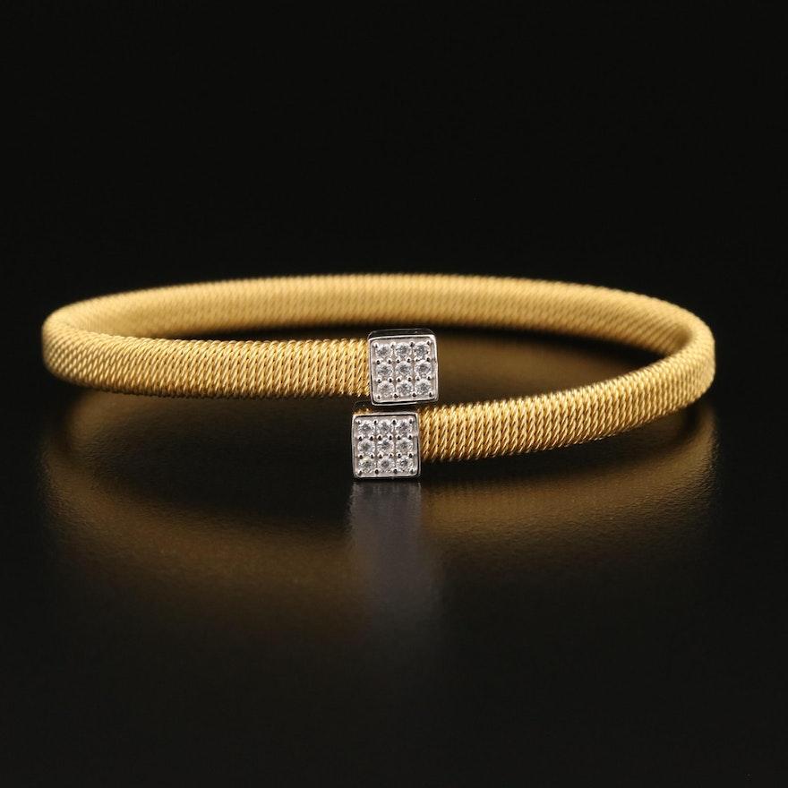 Sterling Cubic Zirconia Cable Wrap Bracelet