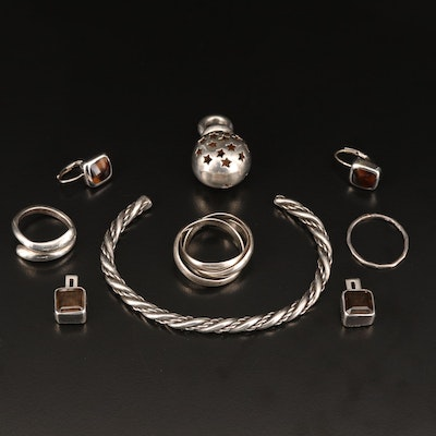 Sterling Silver Jewelry Featuring Bypass Ring and Twisted Cuff