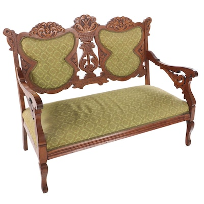 Victorian Carved Walnut Double Chair-Back Settee, Late 19th Century