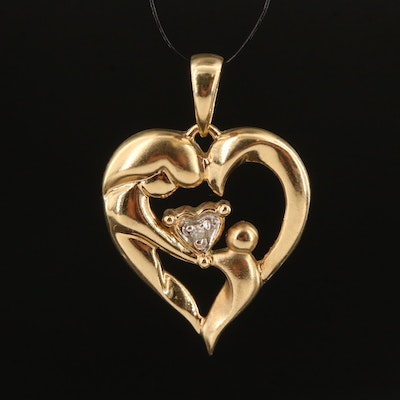 10K Mother and Child Heart Pendant with Diamond Accent