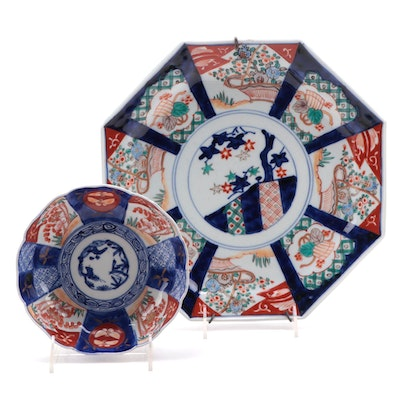 Japanese Imari Ceramic Octagonal Charger and Bowl, Antique