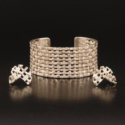 Sterling Hand Signed Woven Design Cuff and Earrings