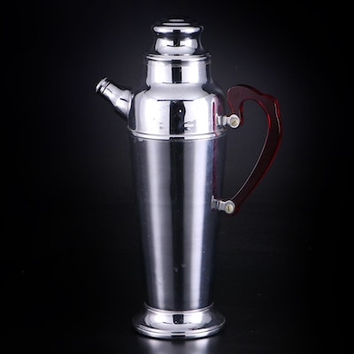 Deco Revival Style Chrome on Stainless Steel Coffee Pot