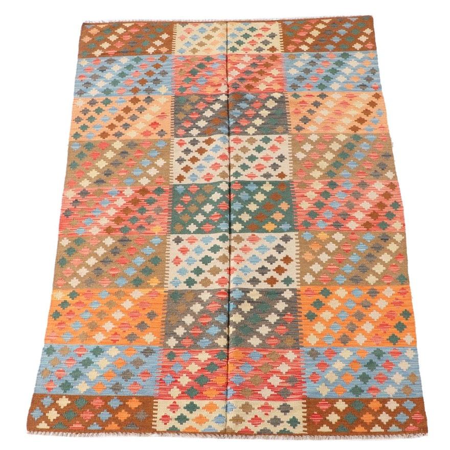 5'6 x 8'4 Handwoven Afghan Wool Kilim Area Rug