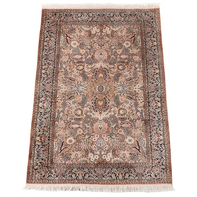 4'1 x 6'5 Hand-Knotted Indian Tapis de Soie Silk Rug