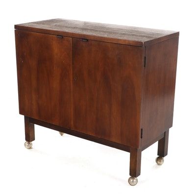 Lane Mid Century Modern Walnut and Laminate Top Bar Cabinet