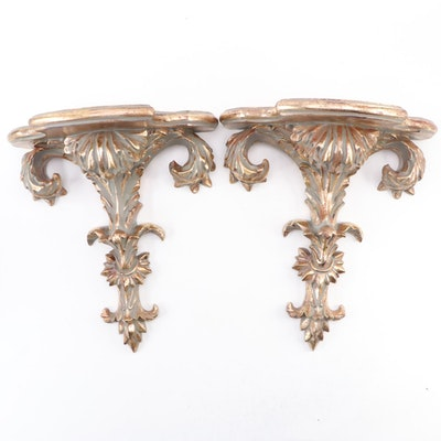 Pair of Baroque Style Gilt Composite Wall Brackets