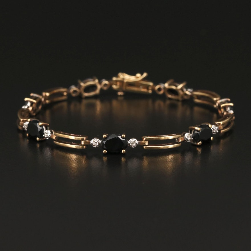 10K Black Onyx and Diamond Bracelet