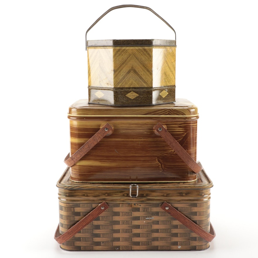 Loose-Wiles Biscuit Company Collector Tin and Picnic Basket Tins with Handles