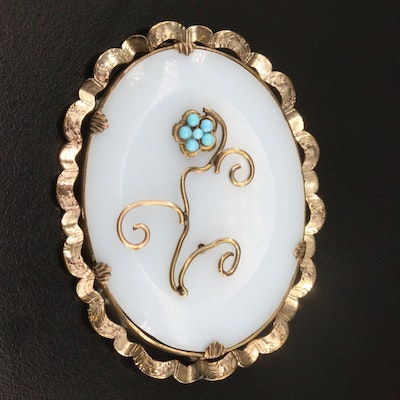 Victorian Opaline Glass Brooch