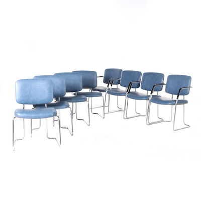 InterRoyal Vinyl and Chrome Sled Base Chairs, Mid-20th Century